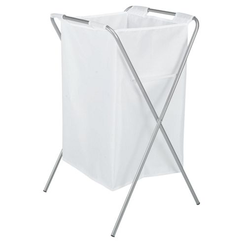 Tesco Folding Laundry Hamper, 100% Polyester White