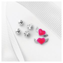 Sterling Silver Winged Heart, Ball And Cubic Zirconia 3 Stud Set