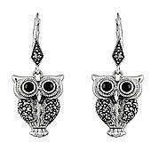Gemondo Sterling Silver 0.36ct Marcasite & Black Onyx Owl Drop Earrings
