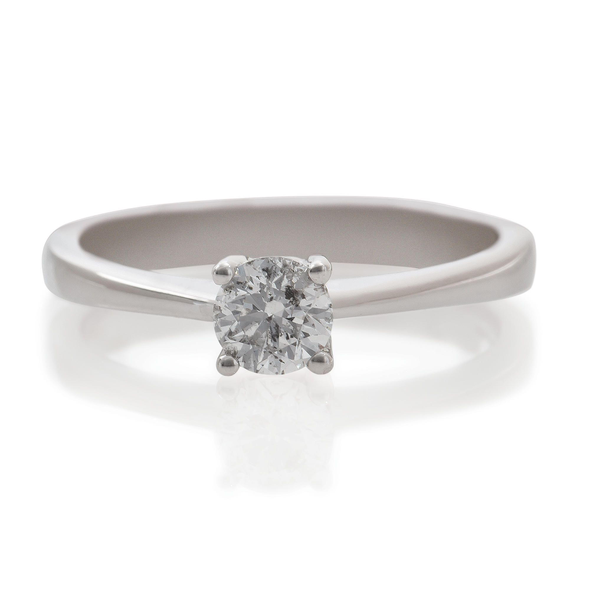 9ct White Gold 1/2ct Diamond Solitaire Ring, N at Tesco Direct