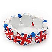 UK British Flag Union Jack Stretch White Wooden Bracelet - up to 20cm length