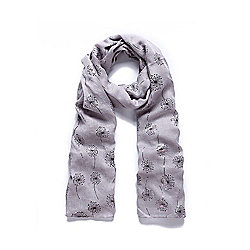 Grey Dandelion Silver Foil Print Long Scarf