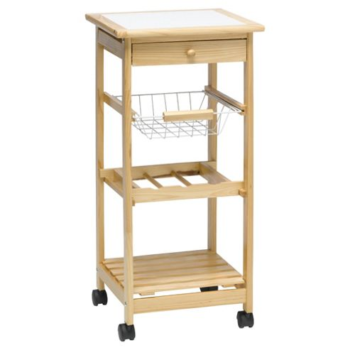 Pine Trolley with Wire Drawers