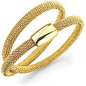 Jewelco London Sterling Silver - Gilded-hue Galvanised Doubled-Up Magnetic Clasp Wristpiece - Bangle - Ladies
