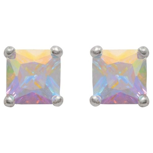 Sterling Silver Cubic Zirconia Princess Cut Studs