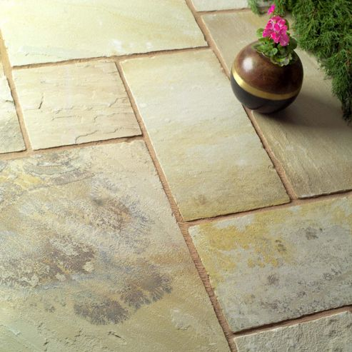 Natural Fossilstone Patio Kit 11.52m2
