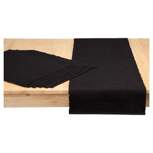 Tesco Ribbed Set of 6 Placemats with Runner, Black