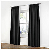 Tesco Plain Canvas Unlined Pencil Pleat Curtains - Black