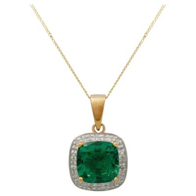 9ct Yellow Gold Created Emerald And Diamond Pendant