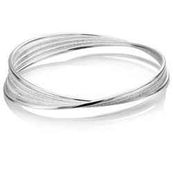 Pave Silver Tone 5 Ring Bangle