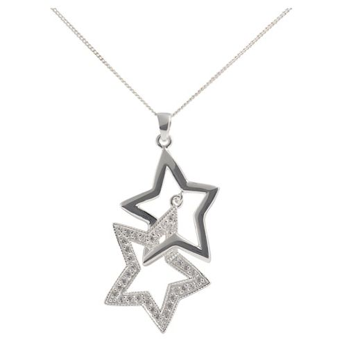 Sterling Silver Cubic Zirconia Double Star Pendant