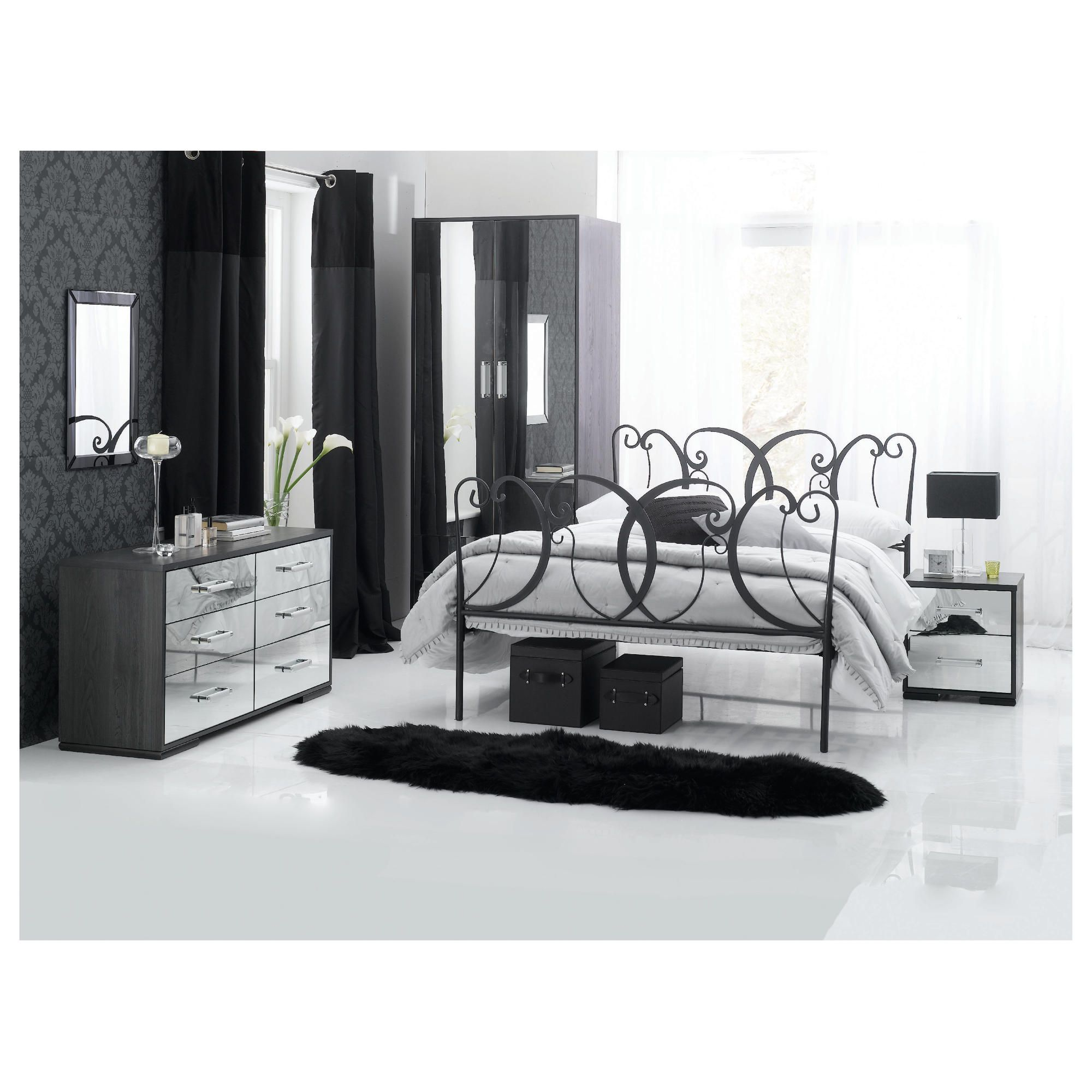 Sophia 2 Dr Robe 6 Drw Wide & Bedside Chest Set Mirrored at Tesco Direct