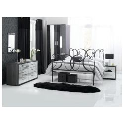 Sophia 2 Dr Robe 6 Drw Wide & Bedside Chest Set Mirrored