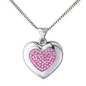 Sterling Silver Pink Crystal Set Heart Shaped Pendant