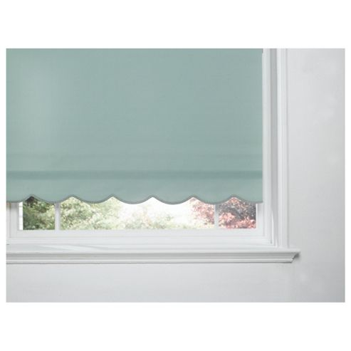 Scalloped Edge Roller Blind, Green 60Cm