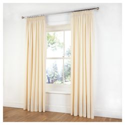 Tesco Plain Canvas Unlined Pencil Pleat Curtains W168xL183cm (66x72