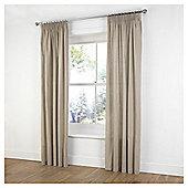 Plain Canvas Pencil Pleat Curtains - Taupe