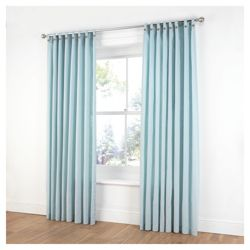 Tesco Plain Canvas Unlined Belt Top Curtains W168xL137cm (66x54
