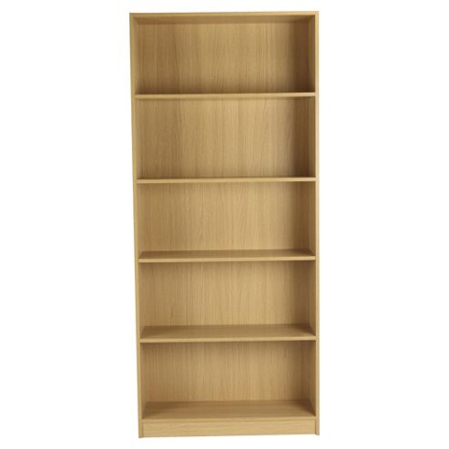 Fraser 5 Shelf Wide Bookcase, Oak Effect