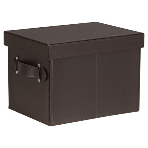 Tesco Small Leather Effect Storage Trunk, Brown
