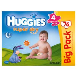 Huggies Super- Dry Big Pack Size 4 (x76)