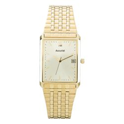 Accurist Mens Gold Rectangular Watch
