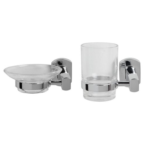 Chelsea Wall Mounted Soap Dish, Tumbler And Holder, Chrome