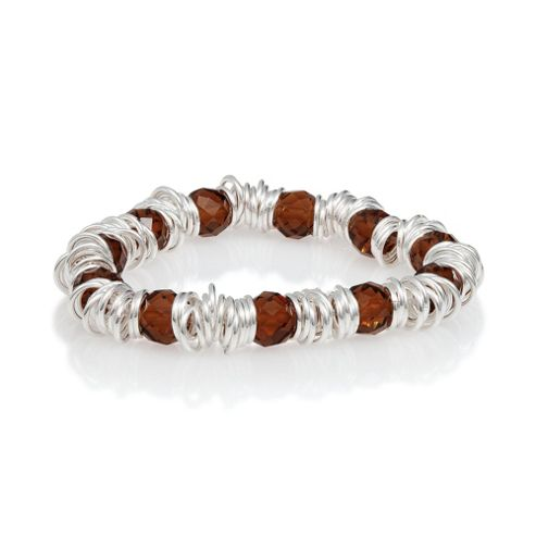 Sterling Silver Link And Bead Bracelet