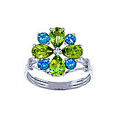 QP Jewellers Blue Topaz & Peridot Rafflesia Ring in 14K White Gold