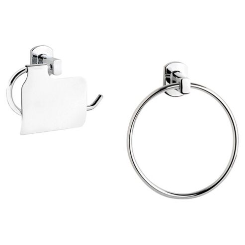 Croydex Chelsea Wall Mounted Toilet Roll Holder And Towel Ring Chrome