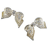 Sterling Silver Cubic Zirconia Bow Earrings