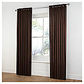 Tesco Plain Canvas Unlined Belt Top Curtains - Chocolate
