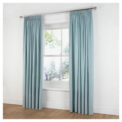 Tesco Plain Canvas Unlined Pencil Pleat Curtains W168xL229cm (66x90