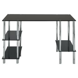 Mercury Desk, Chrome And Black Glass