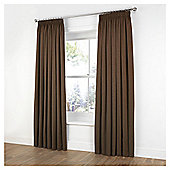 Plain Canvas Pencil Pleat Curtains - Chocolate