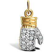Jewelco London 9ct Solid Gold casted light weight Boxing Glove Pendant hand-set with CZ stones