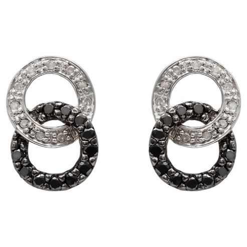 9ct White Gold Black And White Diamond Link Earrings
