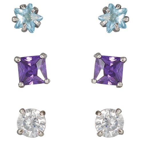 Sterling Silver White And Purple Cubic Zirconia 3 Stud Set