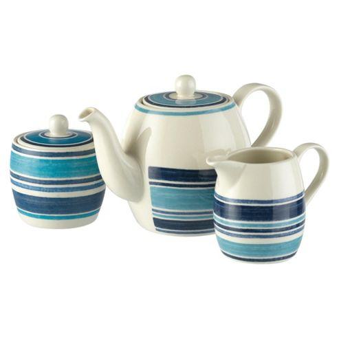 Johnson Bros Farmhouse Kitchen Blue Stripe Teapot Set
