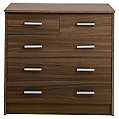Compton 5 Drawer Chest, Walnut-Effect