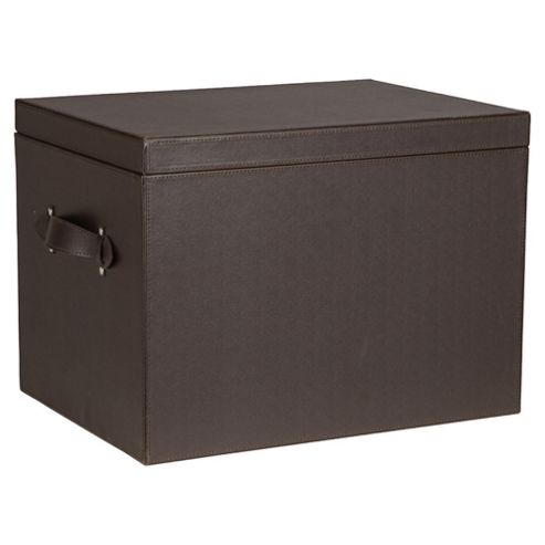 Leather Effect Storage Trunk, Brown
