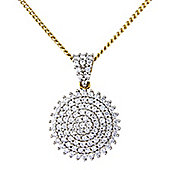 Sterling Silver and 9ct Gold Overlay Diamond Set Pendant
