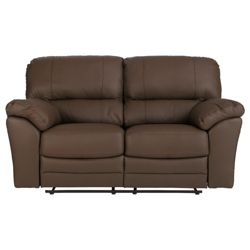 Madrid Small Leather Recliner Sofa, Brown