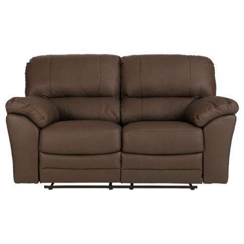 Buy Madrid Small 2 Seater Leather Recliner Sofa Brown