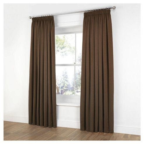 Plain Canvas Pencil Pleat Curtains W117xL183cm (46x72