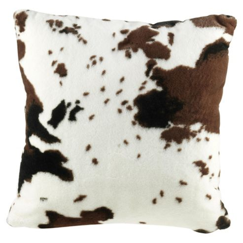 Tesco Faux Fur Cow Print Cushion