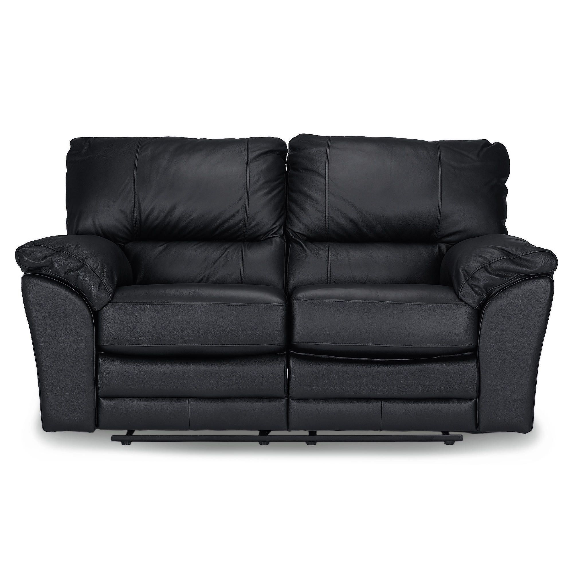 Madrid Small Leather Recliner Sofa, Black at Tescos Direct