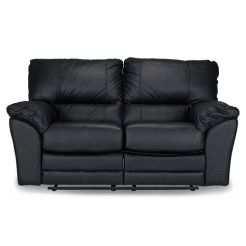 Madrid Small Leather Recliner Sofa, Black