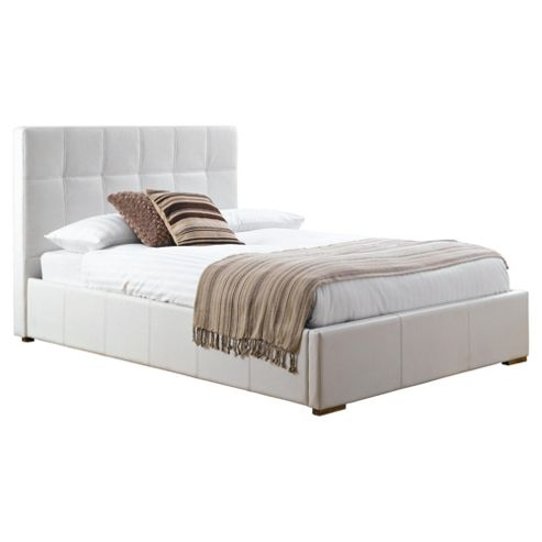 Orleans Double Faux Leather Storage Bed, White