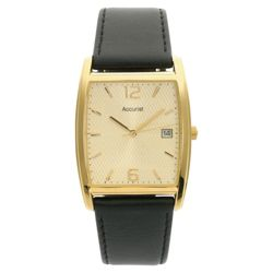 Accurist Mens Black Leather Rectangular Watch